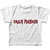 Camiseta infantil Iron Maiden Handmade, Let's Rock Baby, Branco
