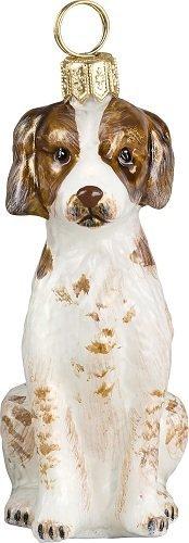 Brittany Spaniel Dog Polish Glass Christmas Ornament Decoration Made in Poland (Ornament Glass Spaniel)