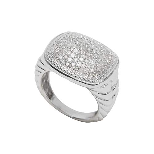 Jewelspaark 925 Sterling Silver 0.95 Carat Natural Wide Square Head Diamond Ring for Women, US Size 7