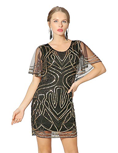 Metme 20's Great Gatsby Inspired Sequins Dress Round Neck Batwing Cape Party Dresses -