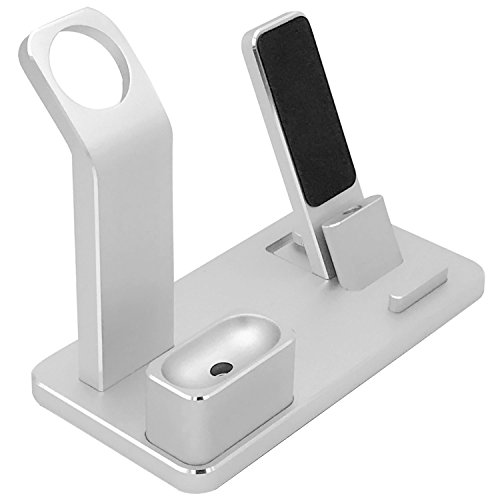 Price comparison product image 4 in 1 Aluminum Apple Watch Charging Stand AirPods Stand Accessories Charging Docks Holder for Apple Watch Series 2/ 1/ AirPods/ IPhone 7/7 Plus /6S /6S Plus/ IPad