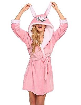 Langle Women Christmas Robe Plush Animal Hooded Two Animal Ears Bathrobe S-XXL