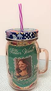 "The Pioneer Woman Glass 32oz Mason Jar with Lid and Straw ""Rosewater"""