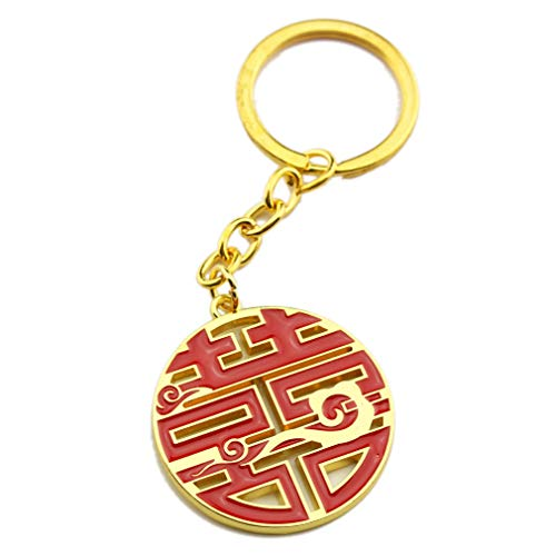 FOY-MALL Unisex Fashion Metal Double Happiness Keychain for Good Luck J1238 ()
