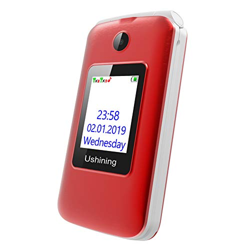Ushining 3G Unlocked Flip Cell Phone for Senior & Kids,Easy-to-Use Big Button Cell Phone with Charging Dock (Red) by USHINING (Image #3)