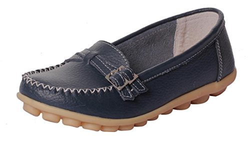 UJoowalk Women's Comfortable Leather Soft Slip-On Flat Casual Driving Loafer Shoes (6 B(M) US, DarkBlue)