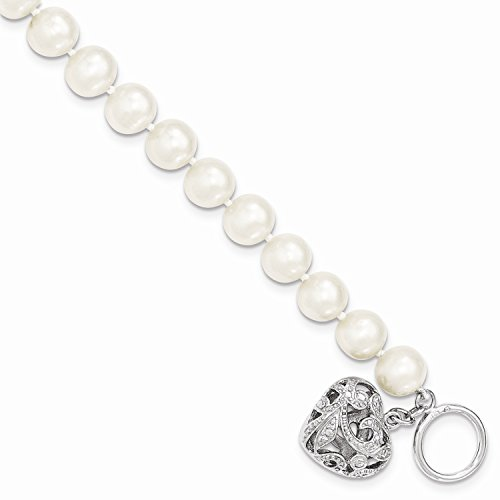 Freshwater Pearl Heart Toggle Bracelet - West Coast Jewelry Sterling Silver 8-9mm White Freshwater Cultured Pearl Heart Toggle Bracelet