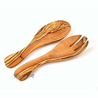 """Handmade Olive Wood 9"""" Curved Salad Server Set of 2- Wooden Utensil Gift!"""