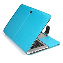 """Easygoby Soft Sleeve for 13-inch Macbook Air - Pu Leather Folio Case Cover Notebook Laptop Bag Carrying Pouch Cover For Apple Macbook Air 13.3"""" (Aqua Blue)"""
