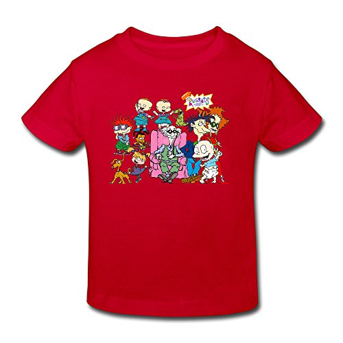 Toddler's 100% Cotton RUGRATS Cool Style T-Shirt Red US Size 4 Toddler