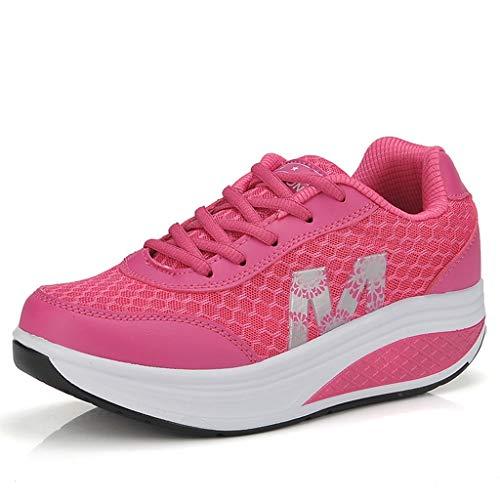 (Sharemen Ladies Toning Rocker Shoes Womens Mesh Slip On Wedges Platform Walking(Watermelon Red,US: 5.5))