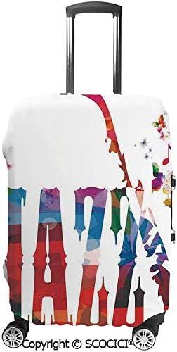 エスニック花柄ボーダートリプレットストライプドットとサークルイメージ 荷物保護カバー,旅行ケース保護ケース 荷物ケース,スーツケース保護カバー 防塵,傷防止 旅行,出張 スーツケースの保管 防塵ケース,防塵カバー