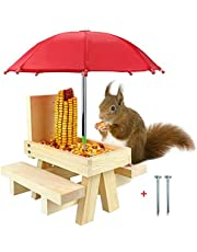 Squirrel Feeder for Outside - Funny Wooden Picnic Table Feeder with Umbrella Multifunctional Hang Corn Nuts Container Gift for Squirrel and Chipmunk Lovers