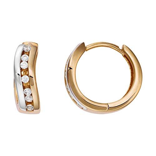 Créoles Or Boucles d'oreilles Femme-Or jaune 333partie Rho diniert Diamètre 13,50mm neuf (160429)