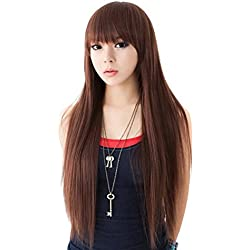"SuperWigy Wigs for Sale 25"" Long Straight Hair Full Bangs Women's Party Wig (Black)"