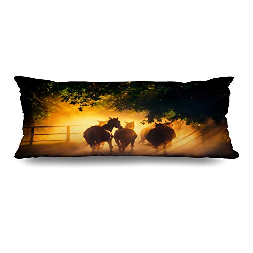(Ahawoso Body Pillows Cover 20x60 Inches Mammal Sunset Herd Horses Back Pasture Countryside Wildlife Dust Nature Farm Running Rider Road Field Decorative Zippered Pillow Case Home Decor Pillowcase )