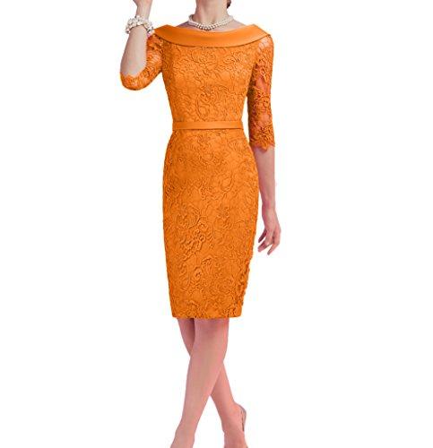 Etuikleider Damen Spitze Langarm mit Promkleider Charmant Orange Wassermelon Abendkleider Festlichkleider dpdwIqZ