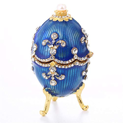 - Laideyilan Easter Egg Crystal Bejeweled Jewelry Ring Trinket Treasured Storage Box Easter Egg Collectible Gifts Vintage Home Decoration Christmas Birthday Gift Decoration