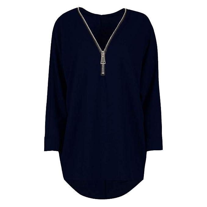 Luckycat Sudadera para Mujer Jumper Ladies Zip Up Blusa Oversize para Mujer Hi Lo Dip Tops: Amazon.es: Ropa y accesorios