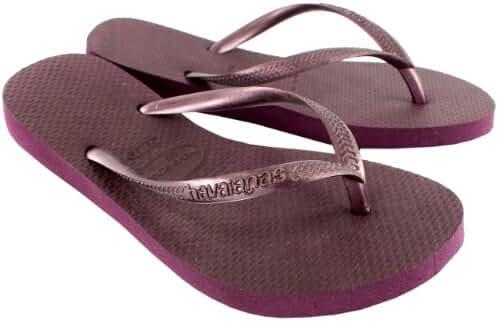 Womens Havaianas Slim Holiday Beach Flip Flops Summer Sandals Slip On - Aubergine - 6