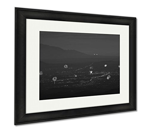 Ashley Framed Prints A Santa Fe And Albuquerque Fireworks Aerial Shot, Modern Room Accent Piece, Black/White, 34x40 (frame size), Black Frame, - Santa Fe Cerrillos