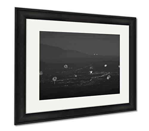 Ashley Framed Prints A Santa Fe And Albuquerque Fireworks Aerial Shot, Modern Room Accent Piece, Black/White, 34x40 (frame size), Black Frame, - Fe Santa Cerrillos