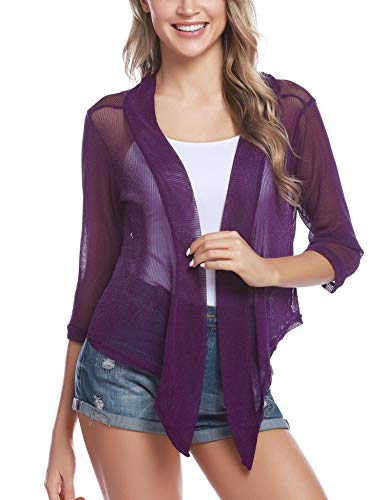 iClosam Womens Tie Front 3/4 Sleeve Sheer Shrug Cropped Bolero Cardigan (#1 Purple, Large)
