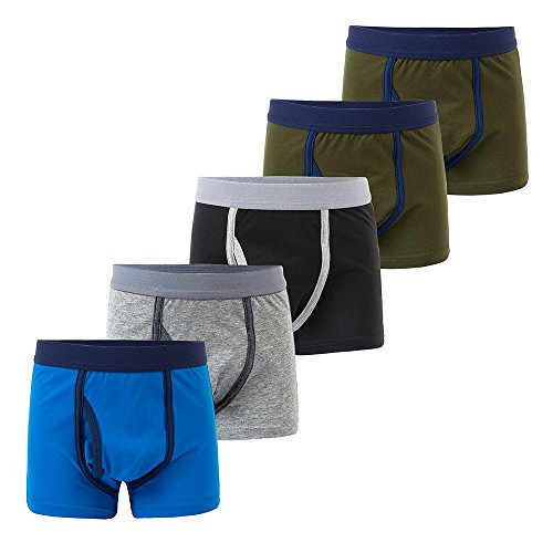 B.GKAKA Little Boys  Boxer Brief Color Kids Underwear 5 Pack Green 2 Pack/Blue/Gray/Black M 8-9Yrs