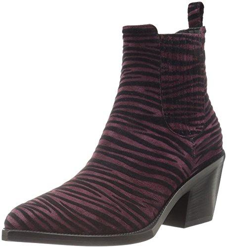 Just Cavalli Women's Flocked Zebra Ankle Boot Bootie, Wine, 8 UK/38 M US
