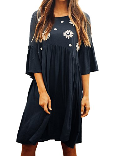 Faisean Women Embroidered Floral Bohemian 3/4 Bell Sleeve Vintage Mexican Casual Swing Tunic Midi Dress