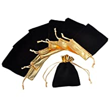 HOUSWEETY 25Pcs 10x12cm Black Velvet Gold Trim Drawstring Jewelry Gift Bags Pouches HOT