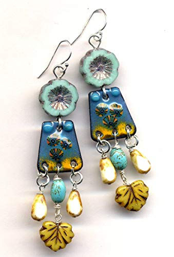 Turquoise and Honey Artistan Earrings, Sterling Silver Earrings, Enamel Earrings, Fall Color Turquoise Earrings, Leaves Boho Long Earrings