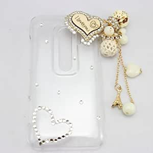 PIAOPIAO bling 3D bow cats diamond rhinestone hard back case cover for HTC EVO 3D G17 (iloveyou)