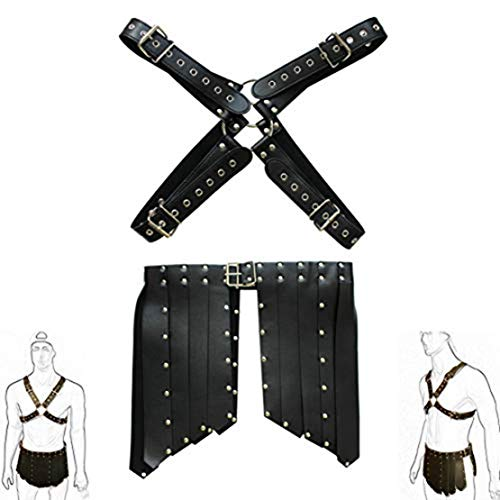 Agoky Men's Roman Gladiator Costume X Shape Body Chest Harness Buckles Pleated Kilt Skirt Fancy Dress Up Black One_Size
