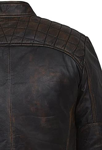 Mens Speed Racing Old Look Black Vintage Buff Contraband Real 100/% Leather 1201