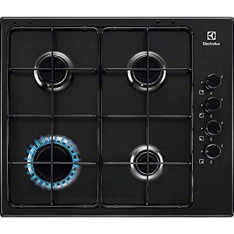 Encimera Cocina a gas 4 fuegos ancho 60 cm color negro Linea ...
