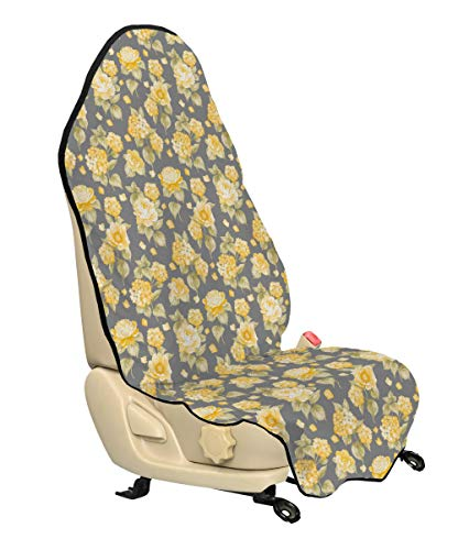 - Ambesonne Flower Car Seat Cover, Hydrangea Chrysanthemum Hortensia Pattern Countryside Old Style Illustration, Car and Truck Seat Cover Protector with Nonslip Backing Universal Fit, Yellow Gray Green