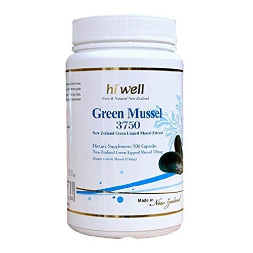 Hi Well Premium Green Lipped Mussel 3750mg 500 Capsules New Zealand Green Lipped Mussel Extract Joint Health Support & Mobility by Hi Well