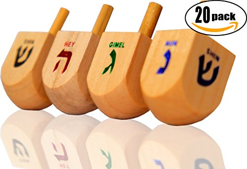 20 Wooden Dreidels Chanukah Game Jewish Holiday Toy Top Hanukkah Group
