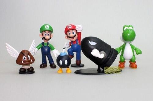 Cartoon Super Mario Bros Mini Model Toys Action Figure Collection Set of 6 Gift