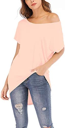 Poetsky Womens Off Shoulder Tops Casual Loose Shirt Batwing Sleeve Tunics Blouse