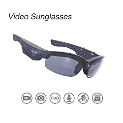 Video Sunglasses, Oho 16gb Ultra Hd Video Recording Camera With Built In 16mp Camera & Polarized Uv400 Protection Safety & Interchangeable Lens, Black Frame Color