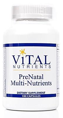 Vital Nutrients - PreNatal Multi-Nutrients - Women's Multi-Vitamin/Mineral Formula With Potent Antioxidants - 180 Capsules