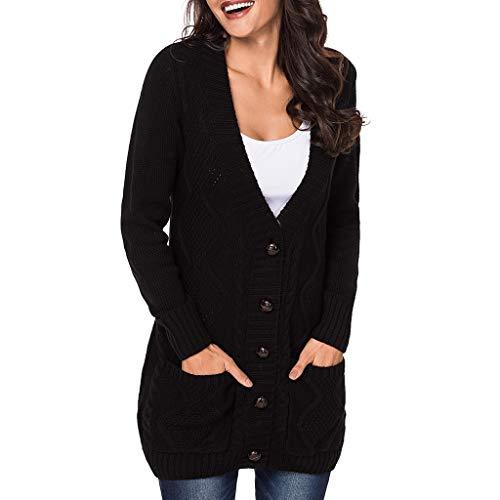 Poche Rangée Tricoté Col Pour Black Jibo En De Section Avec Longue V Ouvert Grand Femme Bouton Manteau Simple 4waOOqp