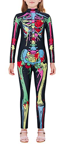 Diy Halloween Costume Sugar Skull (Halloween Costume for Kids Full Exposure Skeleton Bone Stretch Body Suit Scary Colorful Floral Sugar Skull Jumpsuit Fall Long Sleeve Catsuit for 13-14 Years Old)