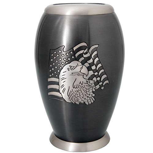 Memorial Gallery 16008A flag eagle Flag and Eagle Cremation Pet Urn