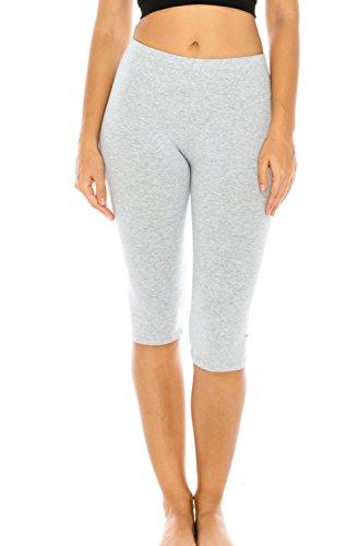 Classic Capris Stretch (The Classic Women's Stretch Cotton Yoga Leggings Capri Bottoms in Gray - Small)