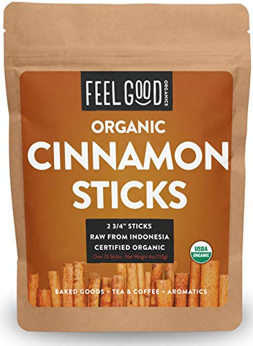 Organic Korintje Cinnamon Sticks - Perfect for Baking, Cooking & Beverages - 25+ Sticks - 2 3/4