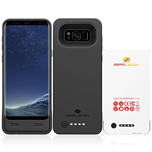 Galaxy S8 Plus Battery Case, ZeroLemon 6300mAh Extended Battery Case with Soft TPU Full Edge Protection Case for Samsung Galaxy S8 Plus(NOT for Galaxy S8)- Black