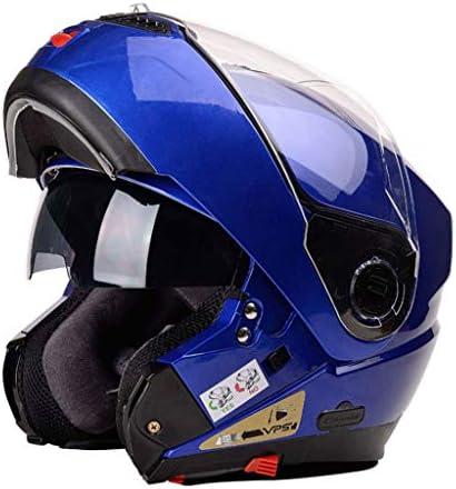 NJ ヘルメット- 電動バイクヘルメットの男性と女性のヘルメット四季ユニバーサル防曇二重ミラーヘルメット (Color : Blue, Size : 26x27cm)